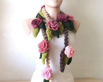 Flower Wool Necklace, Rose Lariat, Spring Crochet Scarf