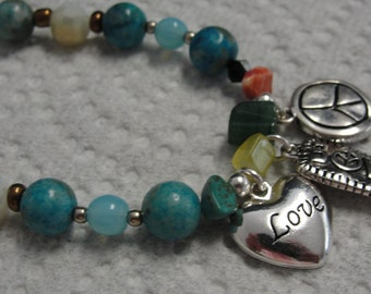 Peace and Love Charm Beaded Necklace