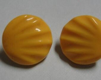 Acrylic Yellow Ridged Round Clip Earrings