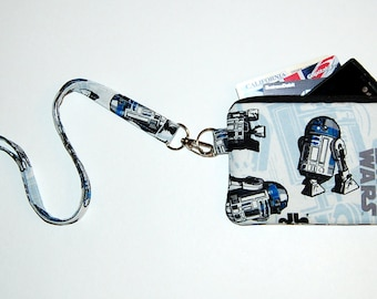 Wallet Zipper Pouch with Removable Lanyard - Cell Phone Pouch / iPhone Pouch / ID Holder - Handcrafted from Star Wars R2D2 Fabric