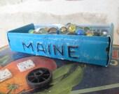 Maine License Plate Box - Rustic Treasure Tray - Storage Box - Planter - FREE SHIPPING