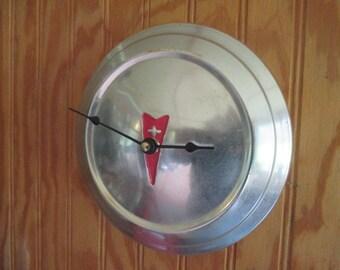 Vintage Pontiac Hubcap Wall Clock - Classic Car - Repurposed Home Decor
