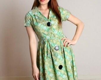 ON SALE Vintage 1950s Cotton Dress - Pastel Green Watercolor Diamond Coquette Day Dress - Medium
