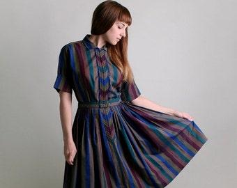 ON SALE Vintage 1950s Dress - Striped Chevron Dark Cotton Day Dress - Medium to Large