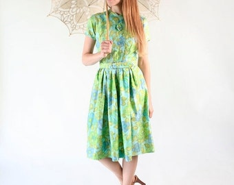 ON SALE Vintage 1960s Dress - Watercolor Mint Green and Sky Blue Floral Day Dress - Medium