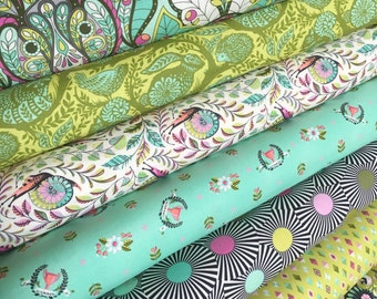 Slow and Steady fabric bundle by Tula Pink, Tortise and the Hare, Fairytale, Fabric Bundle of 8- You Choose the Cut, Free Shipping Available