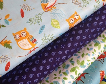 Fox Fabric, Owl Fabric, Forest Fellows fabric bundle of 5, Woodland Animal, Walk in the Woods, Choose the Cut, Free Shipping Available