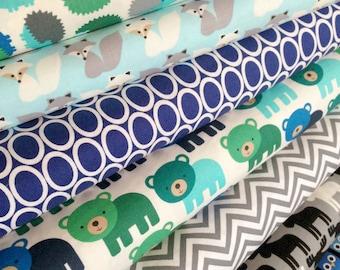 Woodland Pals Fabric Bundle of 7, Boy fabric, Blue fabric, Deer Fabric, Fox fabric, Owl fabric by Robert Kaufman