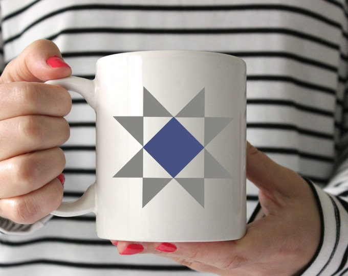 Quilt Mug, Barn Quilt Mug, Coffee Mug, Gift for Quilter, Gift for Her, Coffee Cup, Unique Mug, Quilt Swap Gift, Cute coffee mug, SALE