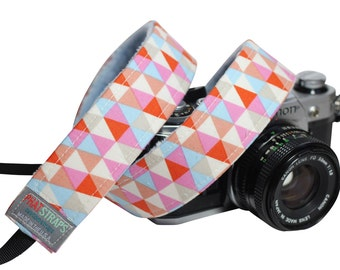 DSLR Camera straps- Tribal Camera strap - Triangle Multi with Baby blue Minky
