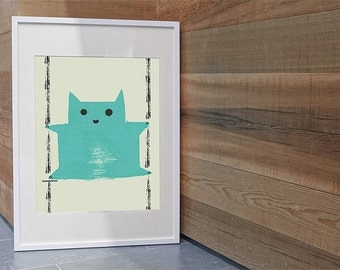 Baby Room Cat Print, Nursery Decor Cat, Cat Art Print, Cheeky Cat Print, Blue Cat Printable, Red Cat Printable,  Digital, Instant Download