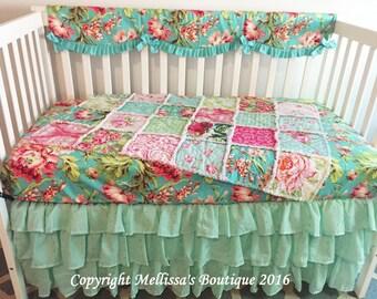 Custom Designer Shabby Chic Crib Bedding Rose Bliss Rag Quilt Ruffled Skirt & Rail Cover 3 Tier Eyelet Boutique Set