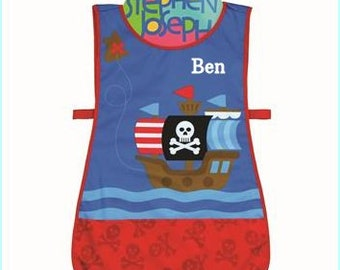 Personalized Stephen Joseph Pirate Apron, Smock Paint, Craft, Artist Apron, Childrens Craft Apron, Coverup, Washable, Art Apron,