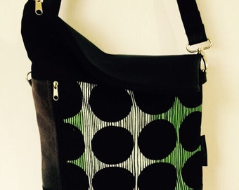 Big Dot Zipper Cross Body Vegan Friendly Bag -