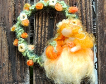 Autumn Fairy Maiden in the forest Felt Wreath with maiden leaves flowers - Waldorf inspired needle felted autumn by Rebecca Varon
