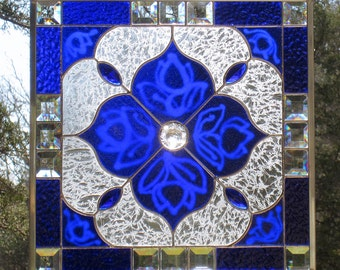 Cobalt Blue Stained Glass Beveled Panel Geometric Design