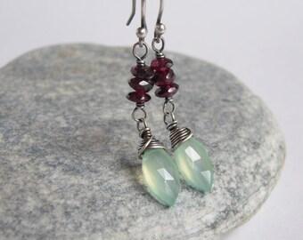 Oxidized Sterling Silver Chalcedony Garnet Earrings Aqua Gemstone Rustic Wedding Jewelry
