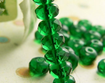 Emerald Green Czech Glass Beads Rondell Transparent 7x5mm Gemstone Donut  Spacers (50)