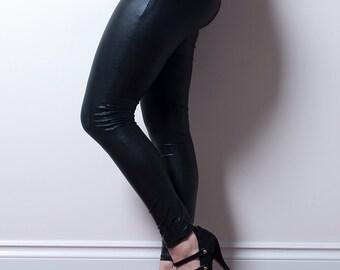 Black Leatherette Leggings-Made to Order