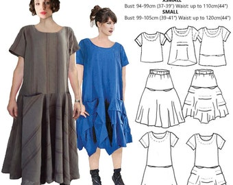 JUDITH SUITE, womens PDF sewing pattern, 3 Small sizes