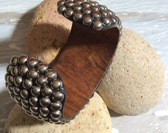 Studded wooden cuff