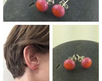 Pink and Tangerine Studs / Glass Studs / Stud Earrings / Colorful Earrings / Glass Stud Earrings / Fused Glass Jewelry / Glass Jewelry