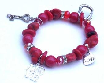 Red Charm Bracelet -Sweetest Day Bracelet - Heart Bracelet - Love Bracelet - Valentines day