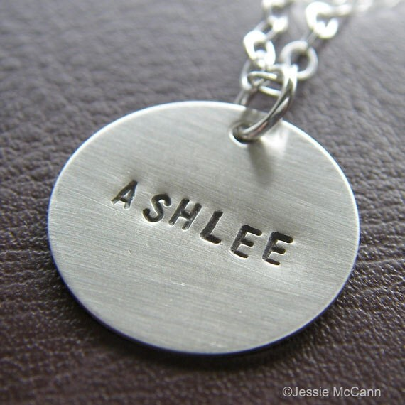 "Custom Sterling Silver Necklace - Personalized Hand Stamped Charm Jewelry - 3/4"" Charm with Optional Birthstone or Pearl"