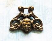 Cherub Snake Amulet Escutcheon DIY Pendant Antique Cemetery Angel Gothic Figural Winged Imp Repurpose Jewelry Hardware Finding