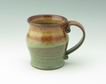 Handmade Pottery Mug, Coffee Mug, Beer Mug, 16 oz Honey & Sage Stoneware Mug, Sold Singly, Ready to Ship