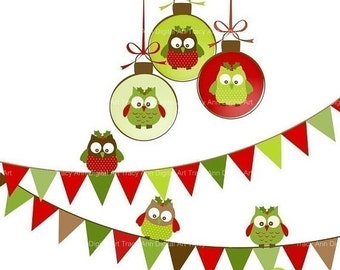 Clip Art Christmas Owl Medley  commercial and personal use