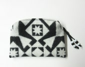 Wool Zippered Pouch Coin Purse Change Purse Accessory Organizer Cosmetic Bag Black White Native American Print