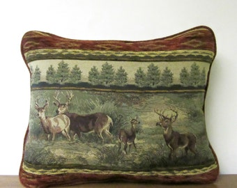 Deer Bucks Tapestry Pillow Cabin Lodge Decor Woodlands Rich Rust Color Softest Chenille Backing