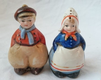 Vintage Art Deco Dutch Boy and Girl Salt and Pepper Shakers 1920's - 1930's