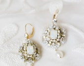 "White Opal Bridal Earrings | Pearl & Crystal Art Deco, Edwardian, Vintage-Inspired Earrings | Couture Handcrafted Lace | ""Aquarelle"""