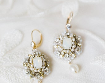"""White Opal Bridal Earrings   Pearl & Crystal Art Deco, Edwardian, Vintage-Inspired Earrings   Couture Handcrafted Lace   """"Aquarelle"""""""