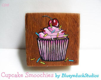 Chocolate Cherry  Cupcake, Salvaged wood, 1880s, antique lumber, reclaimed timber, Folk Art, original Painting, wood sign, fat free, muffin
