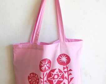 Pink garden hand stamped cotton canvas tote bag