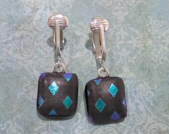 Dangle Clip Earring, Black and Aqua Blue, Non Pierced Earrings. Clip Ons, Fused Glass Jewelry, Handmade - Minco --6