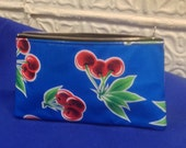 "9"" Blue Oil Cloth with Cherries Pencil Case, Cosmetic Bag, Toiletry Pouch"