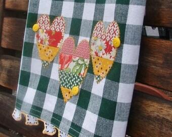 Retro Valentine Tea Towel Three Retro Hearts Raw Edge Applique Accented Vintage Buttons Vintage White Yellow Corchet' Lace Green White Check