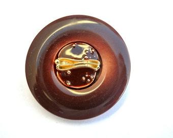 6 Vintage buttons, plastic buttons with metal enamel center trim buttons 34mm, 6 colors