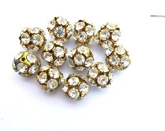 Vintage Swarovski crystal ball bead 15mm,clear rhinestones in brass setting- RARE