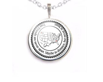 Friendship Distance Necklace, Long Distance Relationship, Friendship Gift, US Map Jewelry