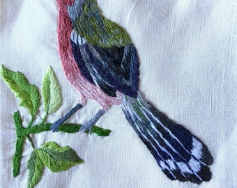 Vintage bird crewel pink green CHOICE OF: sachet, napkin, or picture for framing   piece embroidered cottage home decor