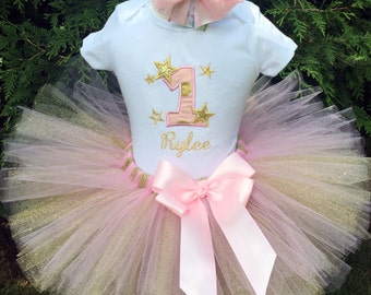 Twinkle Little Star - First Birthday Pink and Gold Dress - Baby Girl First Birthday Shirt - Twinkle Twinkle - 1st Birthday Outfit