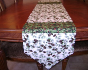Christmas Table Runner In White With Pine Cone Fabric Reversable 64 Inches Long 14 Inches Wide
