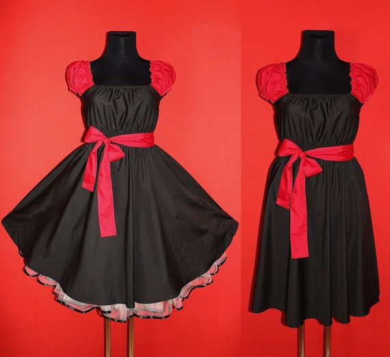40s 50s Rockabilly Swing Black and Red Pin Up Dress US Plus Size 22 24 26 Christmas Halloween Party 4x