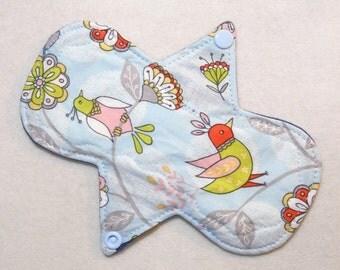 """7.25"""" Regular - Floral Birds - Reusable Cloth Menstrual Pad (7MC)"""