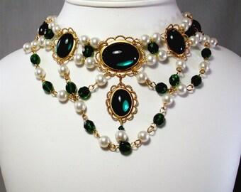 Renaissance Necklace, Medieval Necklace, Tudor Necklace, Medieval Jewelry, Renaissance Jewelry, Tudor Jewelry, U PICK COLORS